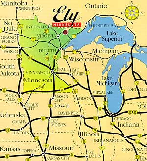 Map of Ely, Minnesota.